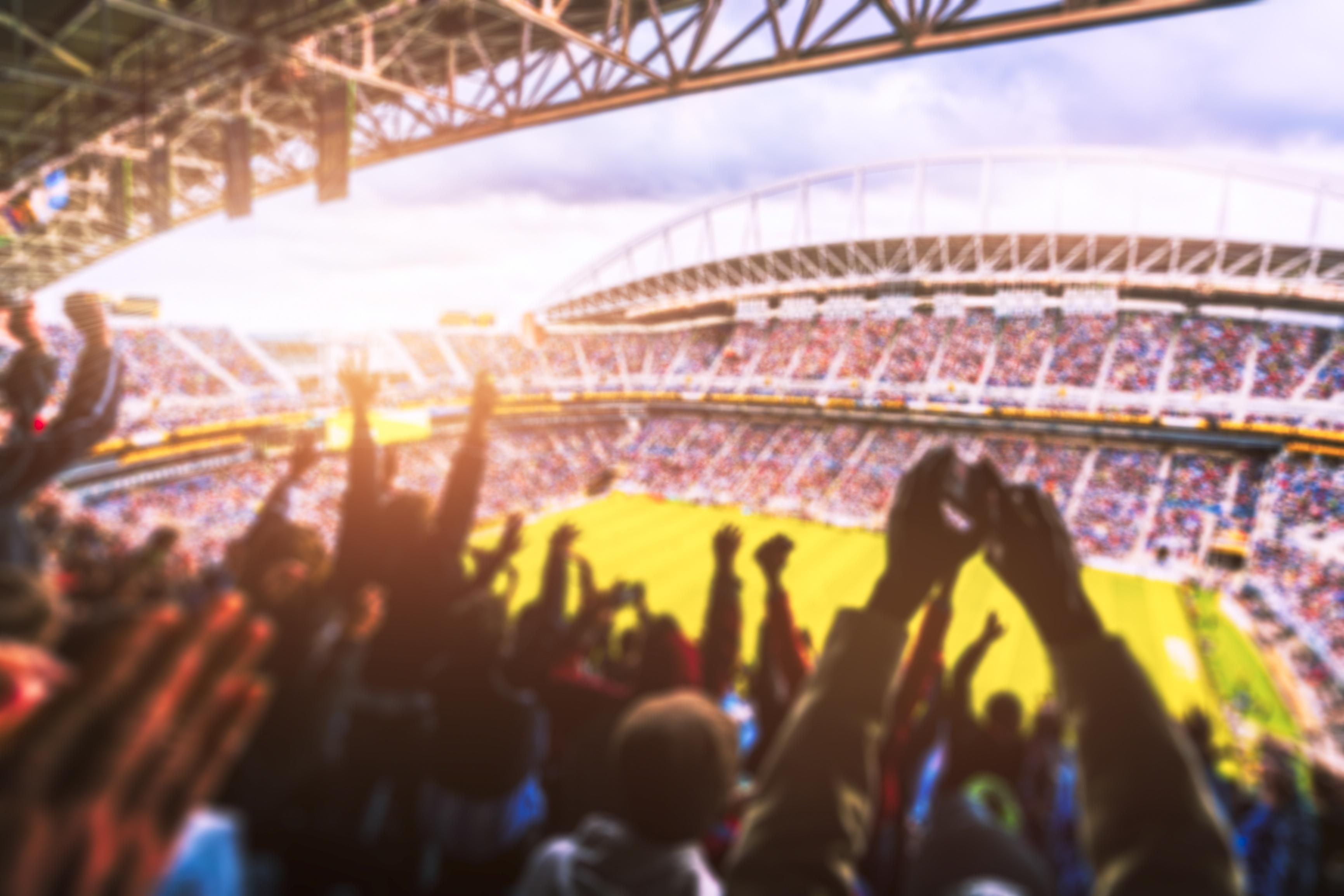 Football- Soccer,a lot of fans  in full stadium celebrate goal. blurred.